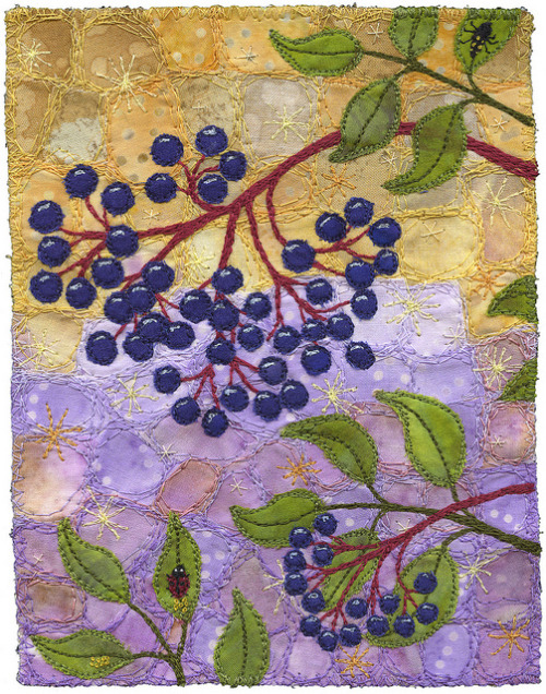peggydolane:  Elderberries with Ladybugs by Kirsten's Fabric Art on Flickr.