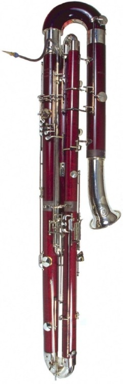 Contrabassoon For many common instruments, you can find a contra counterpart. This essentially means that the instrument you know and love has been made much, much larger. Here is the contrabassoon. It plays an octave lower than a regular bassoon, and unlike it's counterpart, it wraps around two and a half times, so the bell (a fancy word for the place where the sound comes out) points downwards. It kind of sounds like your uncle's voice when he first wakes up in the morning and falls out of bed.