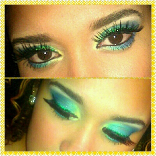 Had a colorful week this week. Look from Wednesday! #makeup #colorful #faceart #cosmetology #esthetics #beauty #bhcosmetics (Taken with Instagram)