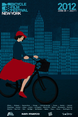 Bicycle Film Festival, New York, June 28 - July 1. I like this poster.