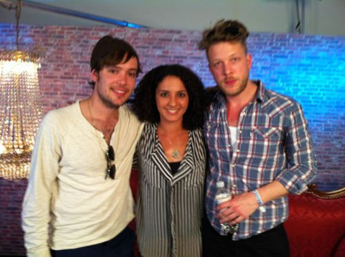 Ben Lovett and Ted Dwane of Mumford & Sons with interviewer Siham at Southside Festival in Neuhausen Ob Eck, Germany on 22nd June 2012. Photo courtesy of Dasding.