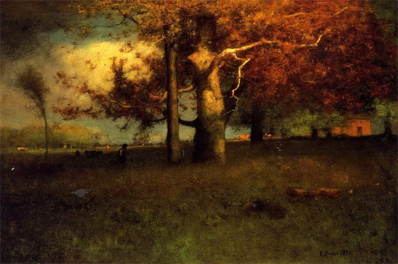 blastedheath:  wasbella102 George Innes (American, 1825-1894), Early Autumn, Montclair, 1891. Oil on canvas. Delaware Art Museum, Wilmington.