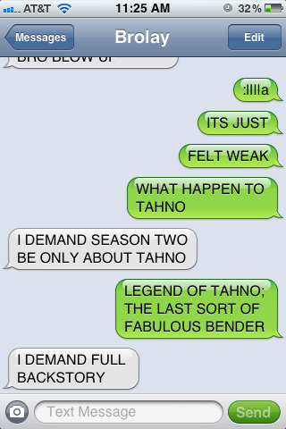BROLAY AND I DISCUSS TAHNO-RELATED POSSIBILITIES FOR SEASON TWO OF THE LEGEND OF KORRA.