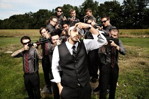 "thedailywhat:  Groomsmen Pic of the Day: Redditor jdstiffler posted this pic along with a helpful explainer: ""My groomsmen photo. I think you can guess my favorite hobby."" Well, the thread is a gem — no one can agree what his fave hobby his. But cool pic, bro. [reddit]"