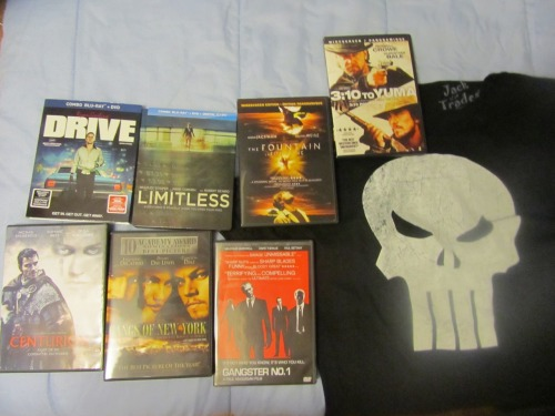 Got this for my birthday:A 'The Punisher' T-shirtDrive on Blu-Ray/DVD combo packLimitless on Blu-Ray/DVD combo packCenturion on DVDGangs Of New York 2-Disc on DVDGangster No.1 on DVDThe Fountain on DVD3:10 To Yuma on DVDAnd my Aunt and Uncle sent me a very funny birthday card with a $25 gift card to HMV, and a $15 gift card for Subway…because I love HMV and we stop at Subway every time we go to Minden to visit them. And now I'm going to draw my 2nd Coriolanus poster :)
