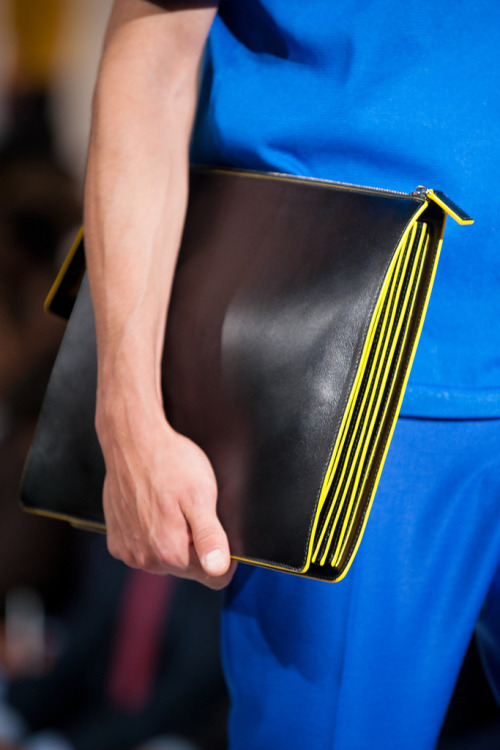 Jil Sander S/S 2013 details. [Punctuate with parallel lines packed with color.]