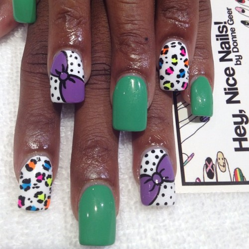 Summer #nailart for @lovelylocs815 using #essie Mojito Madness (Taken with Instagram)
