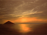 Sunset on Lake Malawi. Acrylic on canvas