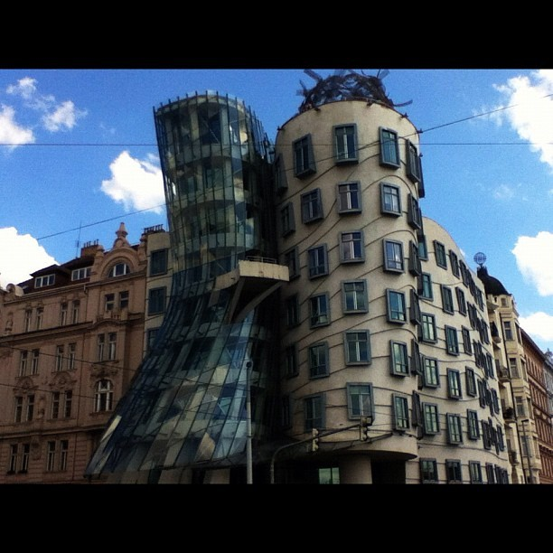 I present to you, Fred and Ginger - by Frank Gehry.  #Prague #architecture  (Taken with Instagram at Prague)