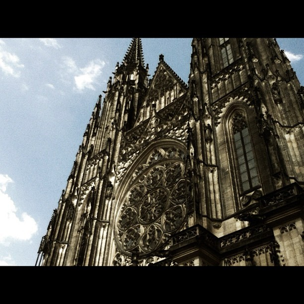 Frontal facade of St. Vitus Cathedral. #cathedral #prague #architecture  (Taken with Instagram at Prague)
