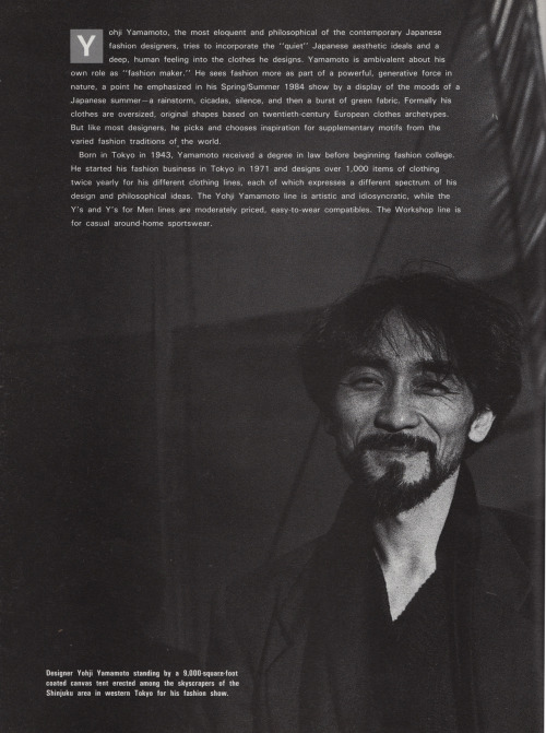 "feature on yohji yamamoto in ""new japan fashion"" by leonard koren"