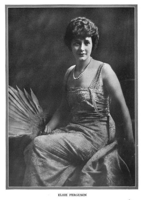 [image: Photographic portrait of a seated woman wering an evening dress and pearls and holding a fan made of feathers.]  ELSIE FERGUSON. From Milady Beautiful, February 1919.