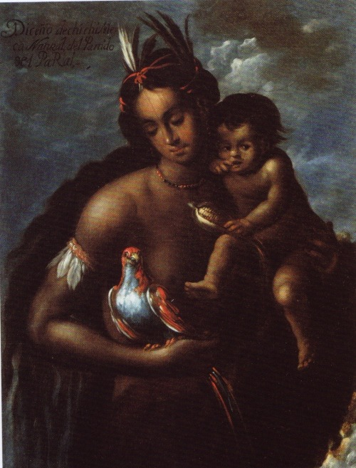 "1711 Manuel Arellano - Rendition of a Chichimeca, a Native of the Province of Parral  In missionary theater, Chichimecs came to stand for Spanish fears and therefore everything the sedentary Central Mexican tribes should reject…Chichimecs were savages, for they appeared to live in ""unstructured groups with no means of exchange, no communication (conversacion) with other groups, no identifiable social organization and no material culture."" Chichimecs threatened Spanish expansion at New Spain's northern frontier. Said to ""infest"" the roads surrounding Spanish towns and to attack ""with inhuman strength,"" they moved about ""invisibly, like elves (duendes)"", assaulting churches and priests, Spanish settlers, and the ""domestic"" Indians and blacks who accompanied them to the region. Colonial officials rendered Chichimecs as ""barbarous"" indians (indios barbaros) and cancerous sores on the body politic. Settlers felt free to enslave Chichimecs long after Indian emancipation.  Laura A Lewis, Hall of Mirrors: Power, Witchcraft, and Caste in Colonial Mexico (Duke University Press 2003)"