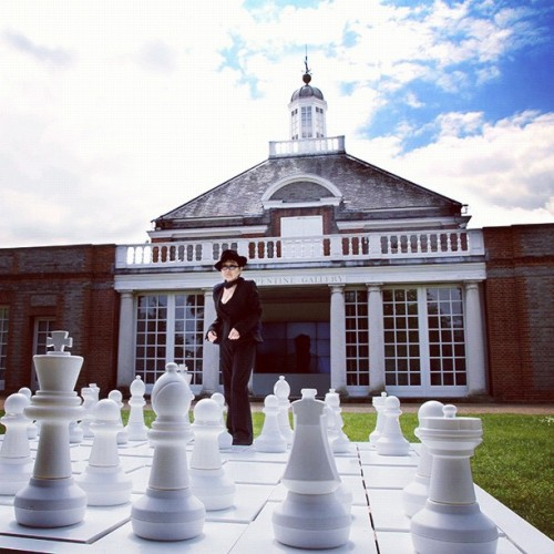 """Play It By Trust (White Chess Set) by Yoko Ono at @SerpentineUK London: ""Play it for as long as you can remember who is your opponent and who is your own self"". Many artists have worked with chess, but they usually worked with the decorative aspect of the chess pieces. I wanted to create a new chess game, making a fundamental rather than decorative change. The white chess set is a sort of life situation. Life is not all black and white, you don't know what is yours and what is theirs. You have to convince people what is yours. In the chess situation it is simple if you are black then black is yours. But this is like a life situation, where you have to play it by convincing each other. People think that I'm doing something shocking and ask me if I'm trying to shock people. The most shocking thing to me is that people have war, fight with each other and moreover take it for granted. The kind of thing I'm doing is almost too simple. I'm not interested in being unique or different. Everyone is different. No two persons have the same mouth shape for example, and so without making any effort we're all different. The problem is not how to become different or unique, but how to share an experience, how to be the same almost, how to communicate. The concept is my work. In the art world, work is shown in a museum and a lot of people or a few people will see it, then if it's bought by someone, that's the end of it, or it comes back every once in a while. So I like the idea that Play It By Trust is repeated in different places, because the environment makes a big difference to the piece. Again, it's the concept that is the work. yoko"