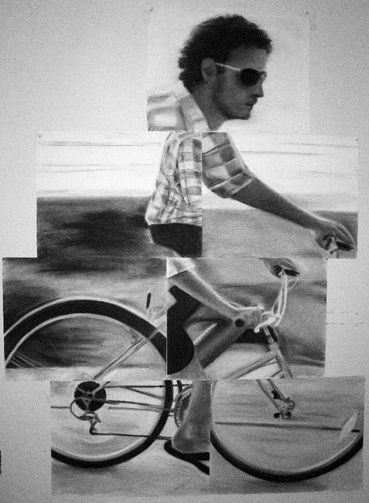 Brother on Bicycle, drawing collage, soft pastels, 6 ft X 4 ft