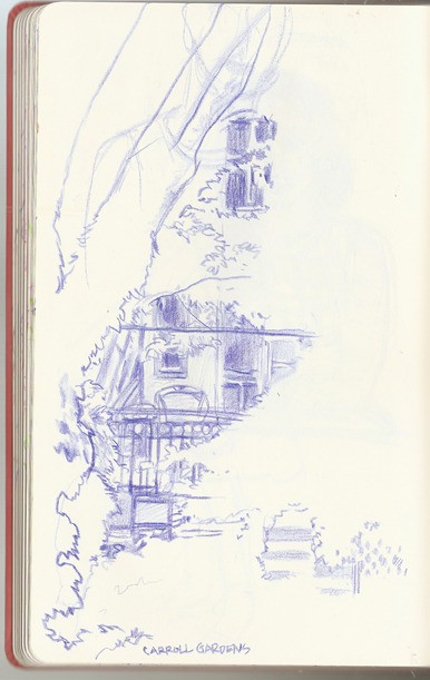 Here's a sketch of a back yard in Carroll Gardens.