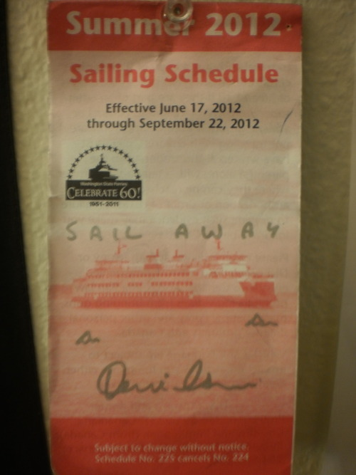 Tom Milsom signed my ferry schedule. He drew sharks in the ocean. It now just hangs on my wall.