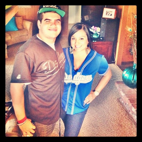Me and my cousin go dodgers (Taken with Instagram)