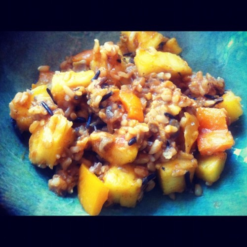 Wild rice & lentils with pineapple & orange pepper (Taken with Instagram)