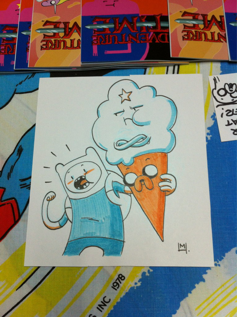 I drew this at my Adventure Time signing at Strange Adventures. It went great and a lot of awesome AT fans came out for it - thanks to Cal and the staff!