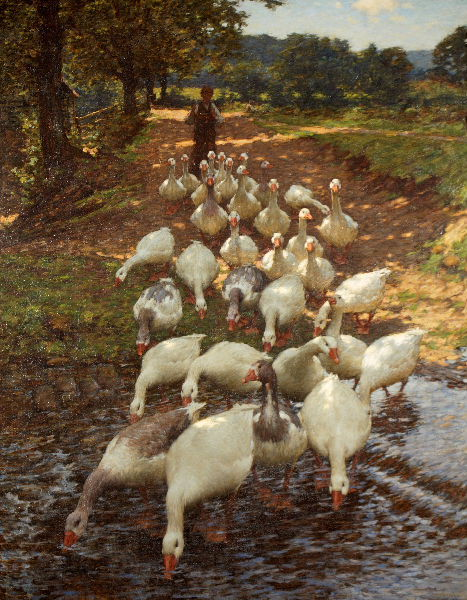 GOOSE ART TUESDAYS!!! Honk honk. ~ Henry Herbert La Thangue The Watersplash, c.1900