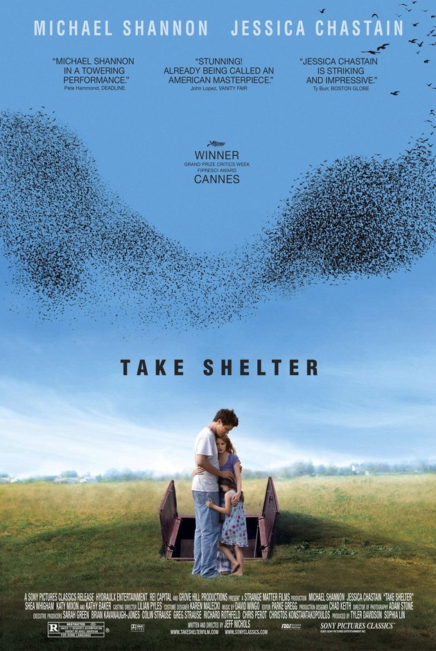 "★★★★½ Take Shelter dir. Jeff Nichols I'm in an Apocalypse in Film class right now and yesterday we watched Take Shelter. My prof said afterwards that he was afraid while watching it with us that we must all be thinking, ""Okay, where's the apocalypse?"". But trust me - it's there in every claustrophobic shot of the film. This is some movie. Probably not the best to watch if you're looking for a feel good movie (but then again, when would you watch an apocalypse film for that?). But damn good. Watch it if you're looking for something tension-packed, mind-blowing and fantasmic-ly acted that straddles the line between family drama and…what? Sci-Fi? Maybe. Horror? Only kind of. Anyway - it's fantastic, as a father whose family has a history of mental illness begins to have dreams about the end of the world and struggles to figure out if they are prophetic or simply early signs of schizophrenia. Michael Shannon is indescribably good."