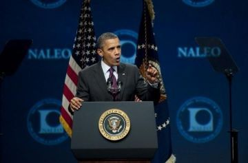 politicsplus:  Obama Blasts Romney at NALEO Willard Romney has a problem with the Latino community.  He want's them to vote for him, so he tried to etch his sketch into making them think that his family were Mexican immigrants too, but his family always was Anglo. His grandfather expatriated to live in a Mormon polygamy commune, when the practice was banned here.  His father, having only one wife, returned.  He is no Latino and pretending to be one could not be more insultingly patronizing.  He also needs them to ignore all his policies.  With Romney in such a vulnerable position, Obama simply shredded him… (videos)