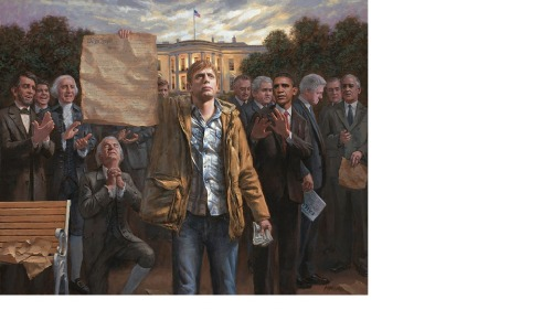 "Behold the ""Empowered Man,"" the latest entry in a series of paintings by conservative artist Jon McNaughton. McNaughton has painted similar scenes to this one before – he has a whole set of anti-Obama paintings (such as this one, in which he sternly torches the constitution), in addition to a couple that advocates of church/state separation might find a bit irksome. Of particular note, in addition to the fact that McNaughton does quite well by these works (he expects to rake in between $50,000 and $100,000 for the above canvas), guess who his ""most prominent"" patron is? If you guessed Fox News host Sean Hannity, well, you're right. Though that really was too easy."