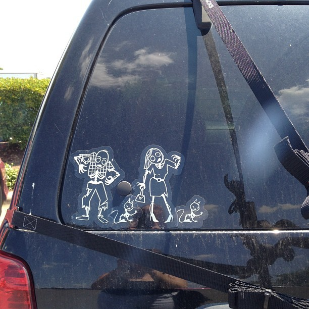 this stick figure family sticker on a car - I like (Taken with Instagram)