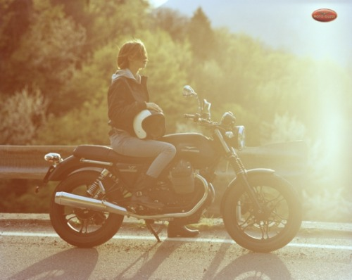 A photo by one of my favorite photographers, Scott Pommier for a MotoGuzzi motorcycle ad. I love how much Guzzi is getting into using ladies in advertising!