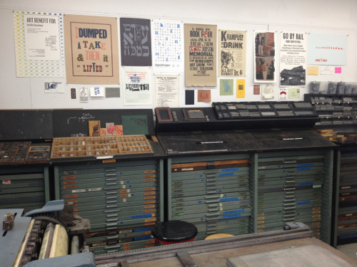 Newly arranged print wall at the Cooper Union's letterpress studio. Two of my prints made the cut. Cool beans.