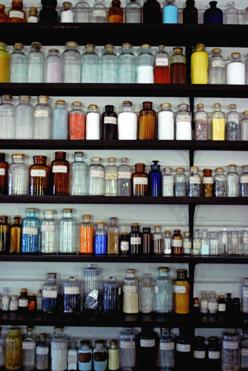 Chemistry bottles. One of my photographs from my color photography class, a retouching assignment. You can see the other photograph from the assignment here. Nikon D60. Greenville Village, Michigan.