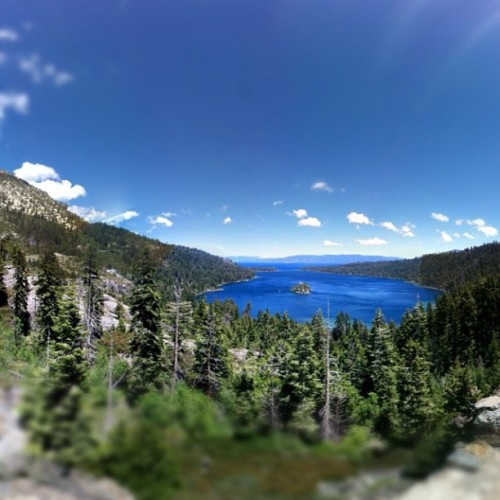 Lake Tahoe, Fanning Island | #lake #tahoe #blue #skys #water #iphone4 #iphoneography #nofilter (Taken with Instagram at Emerald Bay Lookout)