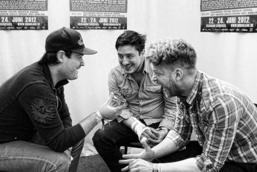 Marcus Mumford and Ted Dwane of Mumford & Sons during an interview at Hurricane Festival in Scheesel, Germany on 23rd June 2012. Photo courtesy of CampFM.