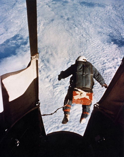 Skydiving from Space On August 16, 1960 Joe Kittinger ascended to 102,800 feet (31,300 M) above the Earth's surface. He was, essentially, touching outer space and then….he jumped. In free fall for 4-1/2 minutes he reached a speed of 612 mph (988 kmh) - nearly the speed of sound. Kittinger had no protection and no human has ever gone faster without a machine surrounding and protecting him. Joe Kittinger set records for the highest jump, the longest free fall, and the fastest human speed without a vehicle.