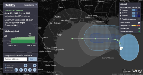 Tropical Storm Debby forms in Gulf of Mexico. Louisiana on alert. Offshore oil and gas workers being evacuated. More at MSNBC.