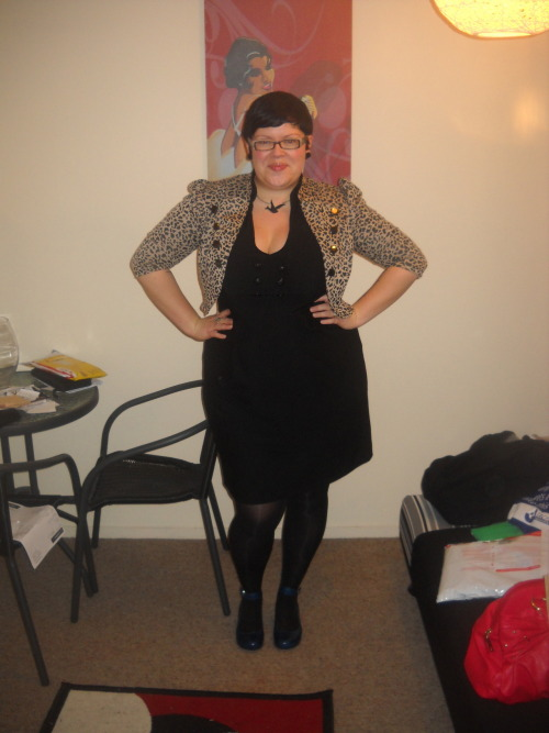 ilikeprettyclothes:  I wore this to work the other day. dress - City Chic, jacket - Big Bang Boutique, tights - Walmart, shoes - Overland, necklace - Underground Market, earrings - Domino Dollhouse