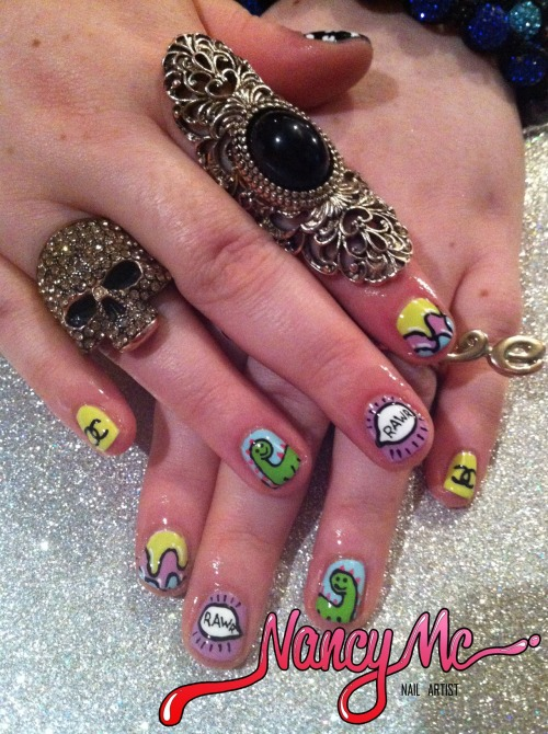 Dino-rawr nails for the lovely Alison. Check out her amazing phone cases over at Get-me-on-the-dlist