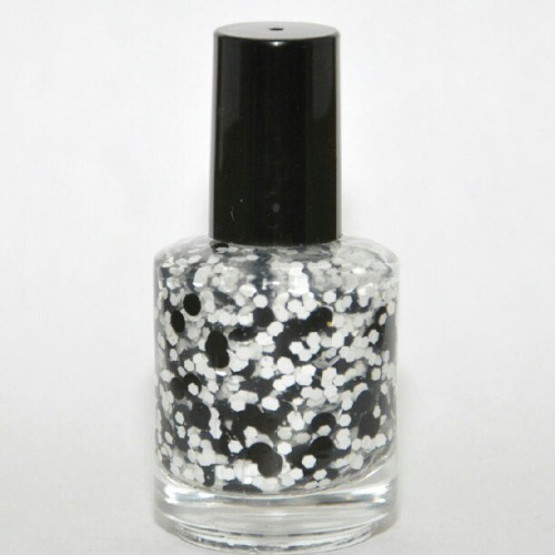 daringdigits:  Before Color. The black round glitters are very large! #daringdigits #polish#nail #franken #fun #black and white #indiepolish (Taken with Instagram)