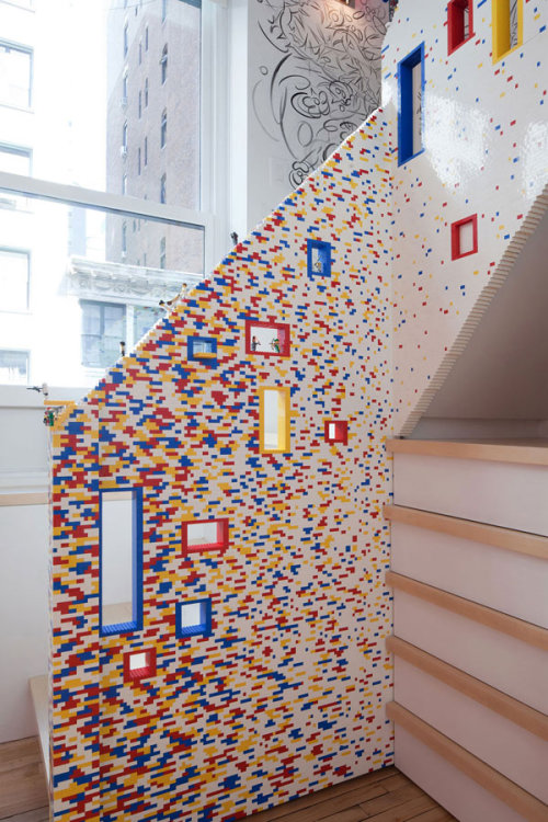Staircase railing made from 20,000 Legos