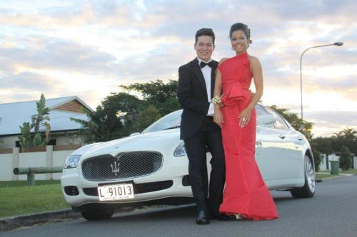 Tim Carroll and I before the TSS formal. Photographed in front of our car, the gorgeous Maserati (one of only two in the world). Saturday the 22nd of June marked this event and it will be remember as the best night of my life to date. Everything was perfect, the dress, the corsage, the shoes, the hair, the date ;), his suit, his shirt, HIS CUFF LINKS, his boutonnière, our car, the pres, the drive around the gc, the celebrity walk ins, the formal, the friends and the after party. But most of all Tim's dedication to chivalry , I have never seen anyone commit to it quite like he did. Such a gentleman. I loved everything, every little element and I would like to thank Tim for asking me to accompany him, love you so much