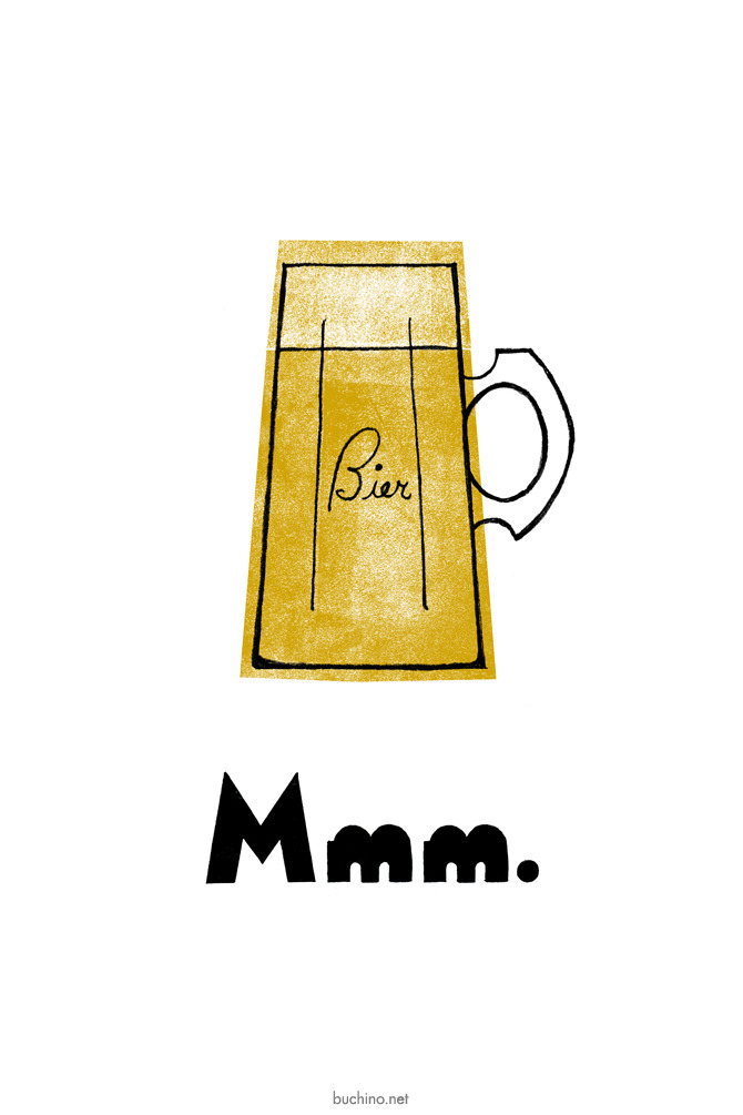 fuckyeahbeer:  Mmm. Bier by Michael Buchino Delicious new screen printed poster. Cheap, too.