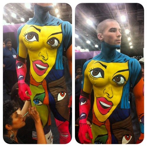 Oh, the life of an artist #mac #imats #hotguy #bodypainting (Taken with Instagram)