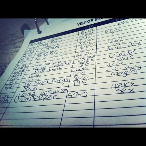 Signed in at Dennis' building. Note: reason.  (Taken with Instagram at John Hancock Center)