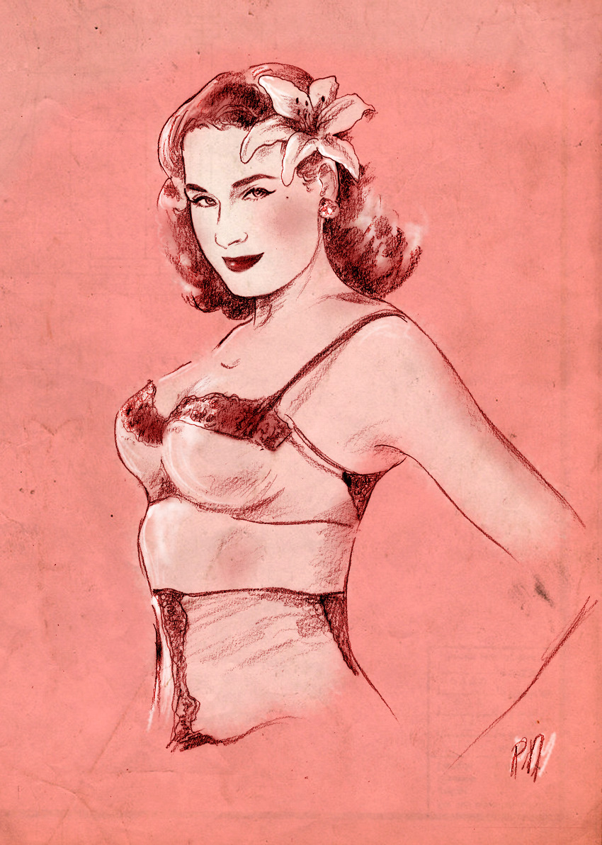 The Queen of Burlesque. A very personal and sketchy tribute to Miss Dita Von Teese. (pencil, charcoal + Photoshop)