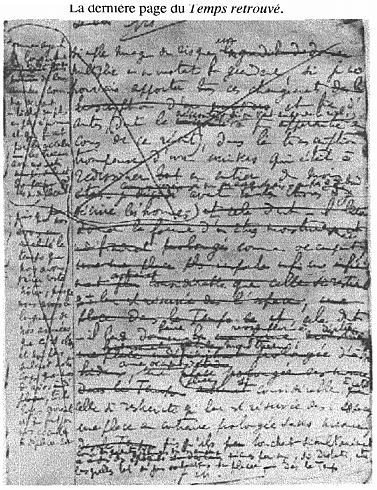 The last page of Marcel Proust's manuscript of Le Temps retrouvé