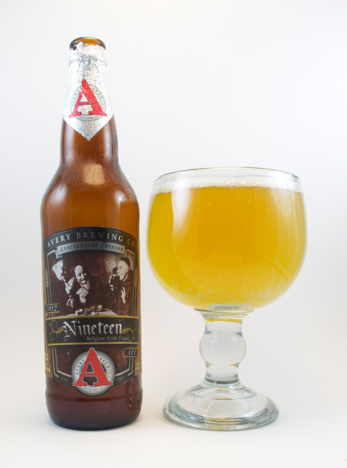 "Avery ""Nineteen""  86 B+     This limited Nineteenth anniversary tripel stands out from all others I've ever had. First off, it's well hopped (odd for a tripel). It's a mix of peppery spices, apricots, flowers, and bready malt.  The bitter hops linger long into the aftertaste, merging with the Belgian yeast to create a a funky twang which I find to be the downside to this beer. It features a pleasing pale grain character. A mix of hops and Belgian yeast provide a dry finish.   Overall, think Belgian IPA instead of tripel and I think you'll appreciate it more. If you know anything about Avery I'm sure you know approximately what to expect. This is a Western tripel, keep that in mind. If compared to the Belgian counterparts, this would receive a far lower score. However, it's still a good, interesting beer that pushes boundaries and is worth checking out. Recommended.   8.23%/p> ? IBU Boulder, Colorado"
