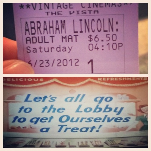 Saw Abraham Lincoln:Vampire Hunter. If you've read the book you'll be disappointed if you haven't you'll be mind blown. #abrahamlincolnvampirehunter #vintagecinemas (Taken with Instagram at Vista Theater)