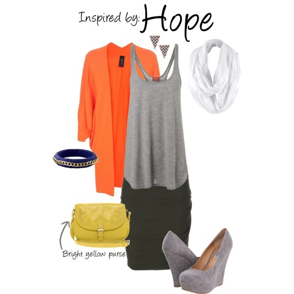 Hope (Final Fantasy XIII) by ladysnip3r featuring a line tops This outfit is inspired by Hope of Final Fantasy XIII. I chose to keep the outfit relatively simple because of the crazy color palette. I paired a dark green skirt with a grey tank top and an orange cardigan to imitate his outfit. I also chose accessories that complimented the color scheme and add similar shapes to his in-game outfit. (Reference Image) Feel The Piece a line top, £55Steve madden wedge, $67ASOS leather satchel, $75Old Navy bracelet, $8Tribal earrings, $6.50Pieces tube scarve, €13