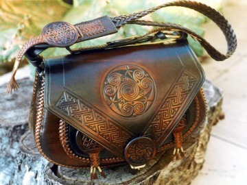 Celtic leather bag